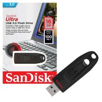 SanDisk USB Flash Drive 16GB Cruzer Ultra, USB 3.0, Read Speed: up to 100 MB/s