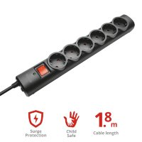 Trust Surge Protector 6 ports, 1.8m