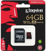 Kingston UHS-I U3 MicroSDHC 32/64GB V30+ Adapter