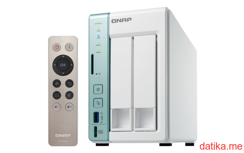QNAP TS-251A-2G Dual-core NAS featuring USB QuickAccess port for direct access to files