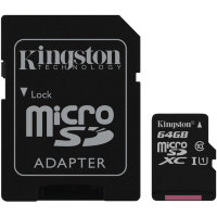 Kingston Micro SDHC 16GB/32GB/64GB/128GB Class 10 UHS-I + SD Adapter