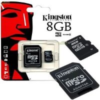 Kingston 8GB MicroSDHC Card with SD adaptor Class 4