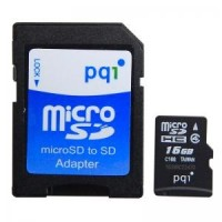 PQI 16GB MicroSDHC Card with SD adaptor Class 4