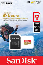 SanDisk Extreme MicroSDHC Card 32GB + Adapter, U3, Class 10, V30